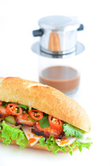 Banh mi ( vietnamese sandwich) with coffee. This is a typical breakfast in Viet Nam.