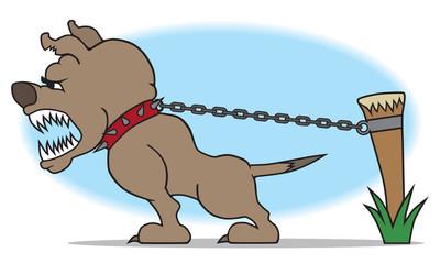 Vicious guard dog protecting his property