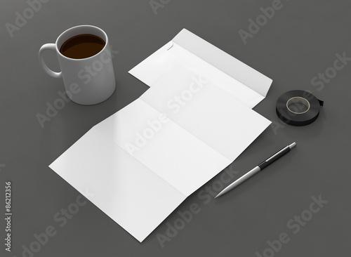 Briefpapier Kuvert Vorlage Kugelschreiber Kaffee\