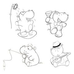 A set of hippos. Coloring book