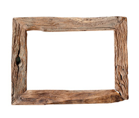 Wooden Frame / Rustic wood frame isolated on the white background with clipping path