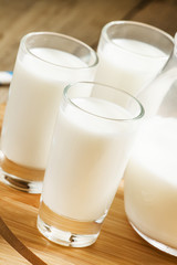 Fresh peasant milk jug and glasses on  wooden table, selective f
