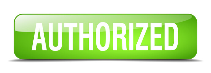 authorized green square 3d realistic isolated web button