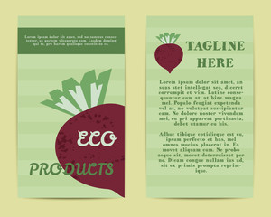 Stylish Farm Fresh flyer, template or brochure design with beet