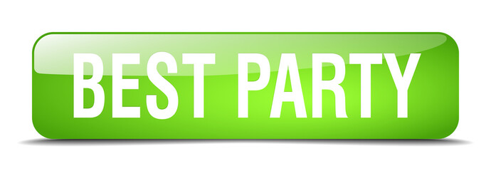 best party green square 3d realistic isolated web button