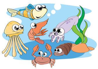 Vector; illustration; Cartoon; Animal; aquatic animals  sea Creatures  fish  shrimp  shellfish  crab  octopus