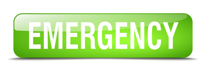 emergency green square 3d realistic isolated web button