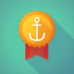 Long shadow badge icon with an anchor