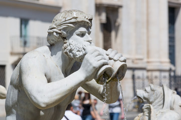 Fontana del Moro (Moor Fountain) at the Navona Square - Rome