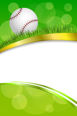 Background abstract green sport white baseball white ball gold frame vertical ribbon illustration vector