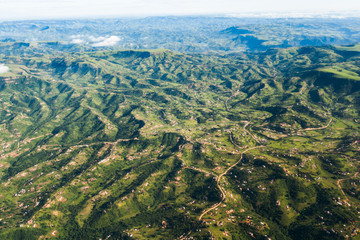 Aerial flying Inanda valleys outside Durban South Africa rural countryside hills valleys homes landscape