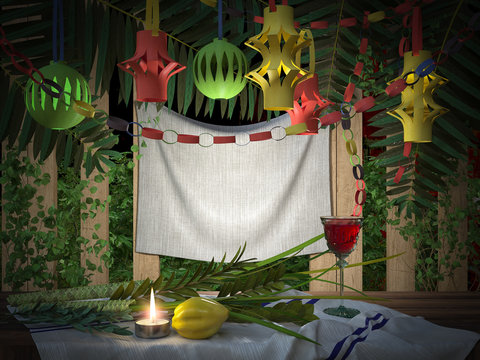 Symbols of the Jewish holiday Sukkot with palm leaves and candle