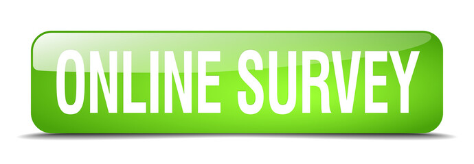 online survey green square 3d realistic isolated web button