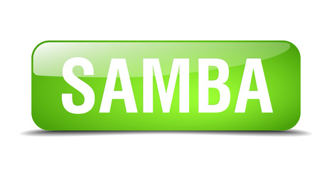 samba green square 3d realistic isolated web button