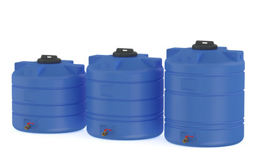 three blue water tanks or water barrels