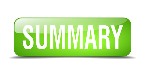 summary green square 3d realistic isolated web button