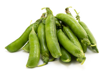 Pile of pea pods isolated on white