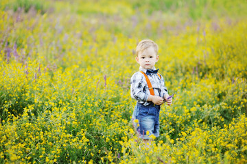 baby boy in orange suspenders and bow tie on a background field