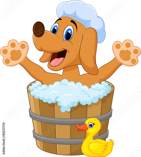 Quot cartoon dog bathing in the stock image and