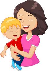 Cartoon happy family mother holding son
