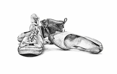 hand drawn sketch of old worn shoes, vintage tennis canvas style fashion, ladies shoes, saddle, sports running high tops shoes, design clip art brochure poster business card sign web design vintage ad