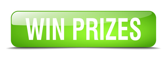 win prizes green square 3d realistic isolated web button