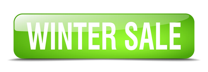 winter sale green square 3d realistic isolated web button