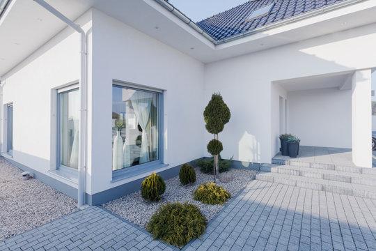 Modern white house exterior