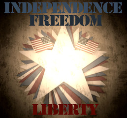 Fourth of July image with grunge effect applied