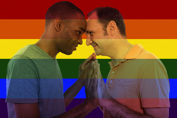 Iconic image style used in social media to celebrate legalization of same-sex marriage