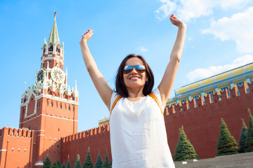Foto op Canvas Las Vegas Happy girl tourist on Red Square in Moscow Russia