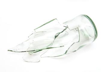 pieces of broken bottle glass