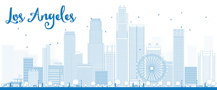 Outline Los Angeles Skyline with Blue Buildings.