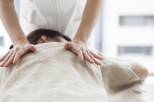 Women receiving a massage