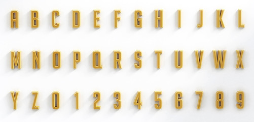 Hanging black letters and numbers isolated on white background
