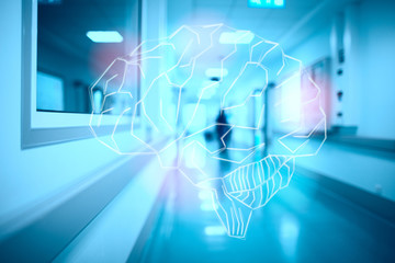Brain on the blurred hospital corridor concept of intense mental