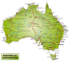 Karte von Australien mit Verkehrsnetz