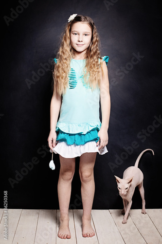 "Pre Teen Nn Pics: ""Girl And Kitten. Child With Cat. Two Friends"" Stock Photo"