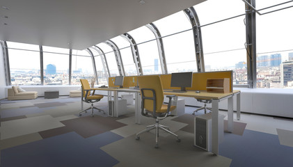 Modern Penthouse Office Space Overlooking City