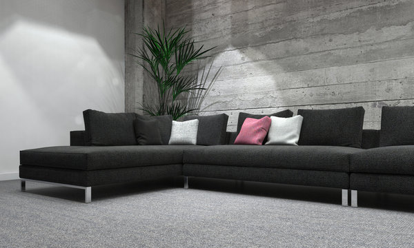 Long Sofa in Modern Room with Rustic Wood Wall