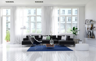 Contemporary monochrome white living room interior