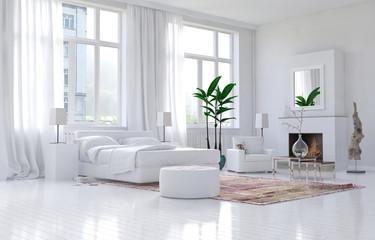 Contemporary spacious white bedroom interior