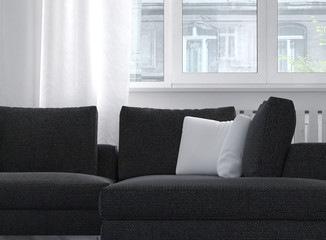 Comfortable classic upholstered sofa near a window