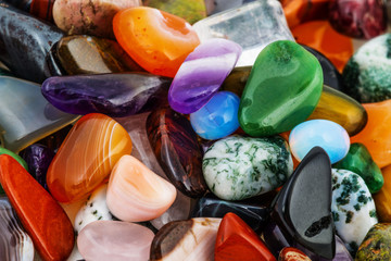 collection of semiprecious natural stones
