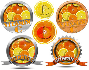 Vitamin C - Collections of Icons / Collection of icons or symbols with many slices of orange and lemon and text Vitamin C. Isolated on white background