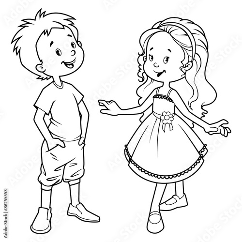 Very cute kids boy and girl outline stock image and for Outline of a boy and girl coloring pages