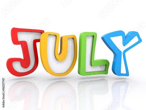 Clip Art Calendar July : Quot july calendar month d colored letters stock photo