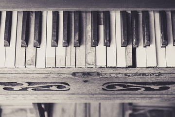 Piano keyboard vintage style effect picture
