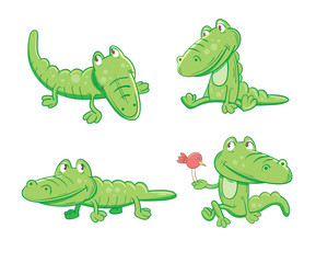 Set with four cartoon crocodiles in different poses.