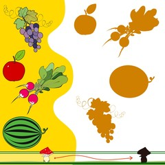 Find the shadow of  fruits and vegetables